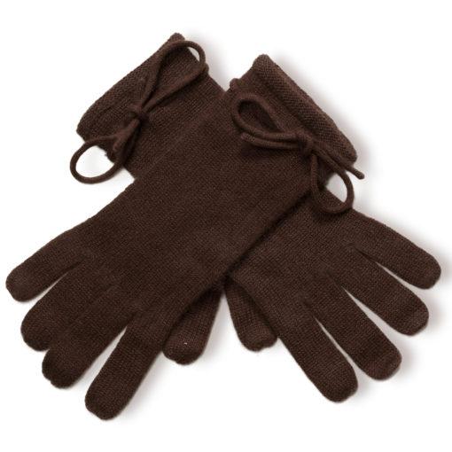 Ladies Cashmere Gloves With Wrist Tie - Coffee Bean