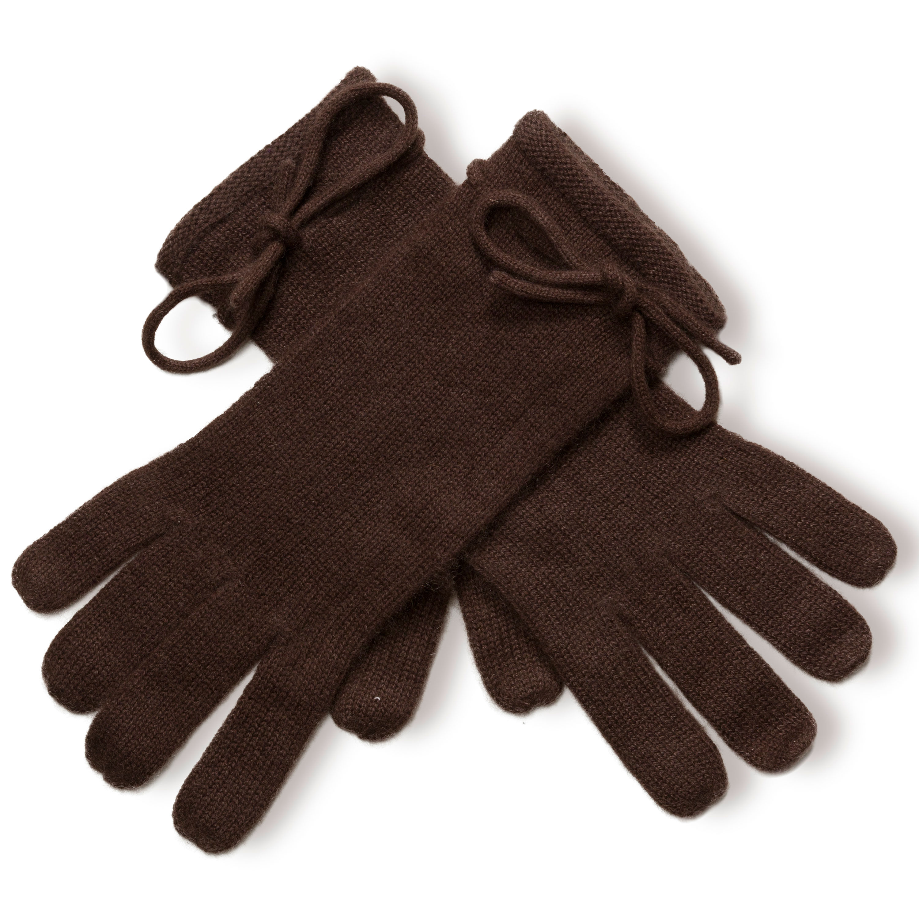 Ladies Cashmere Gloves With Wrist Tie - Coffee Bean