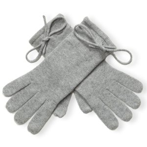 Ladies Cashmere Gloves With Wrist Tie - Melange Light Grey mp500