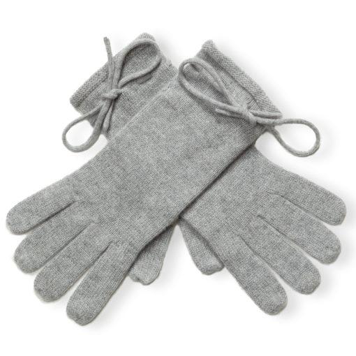 Ladies Cashmere Gloves With Wrist Tie - Melange Light Grey mp500