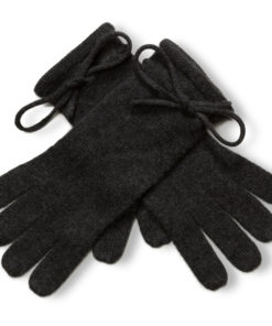 Ladies Cashmere Gloves With Wrist Tie - Melange Dark Grey mp501