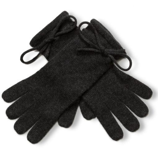 Ladies Cashmere Gloves With Wrist Tie - Melange Dark Grey mp501