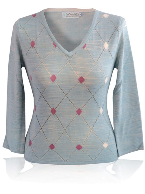 Ladies Argyle V-Neck - 80% Bamboo/20% Cashmere - Blue all Vegetable Dyes - Small