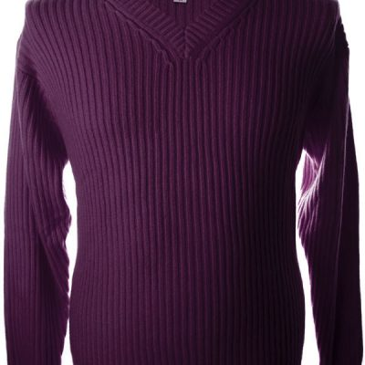 Mens Ribbed V-Neck - 100% Cashmere - Small - Light Fig