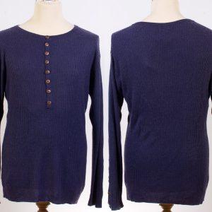 Mens Ribbed Grandadshirt - 80% Bamboo / 20% Cashmere - Large - Indigo Blue