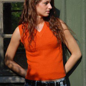 "Ladies Short Sleevetop - Harvest Pumpkin - 100% Cashmere - XS Size 32"""