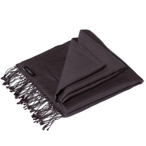 Classic 70% Cashmere / 30% Silk Pashmina - Dark Shadow mp07 - 55x200cm - With Tassels
