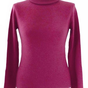 Ladies Polo Neck - Medium - 100% Cashmere - Plum Perfect