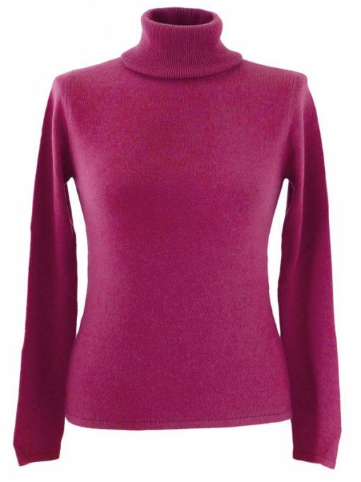 Ladies Polo Neck - Medium - 100% Cashmere - Plum Perfect