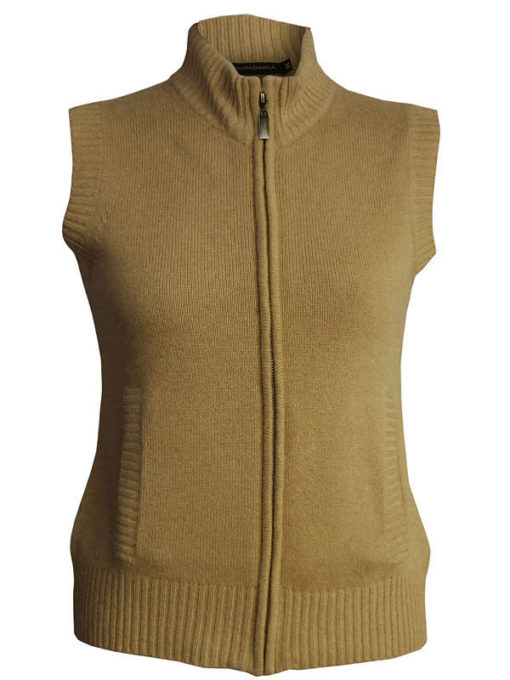 Ladies Gillet - 100% Cashmere - Medium - Antique Bronze