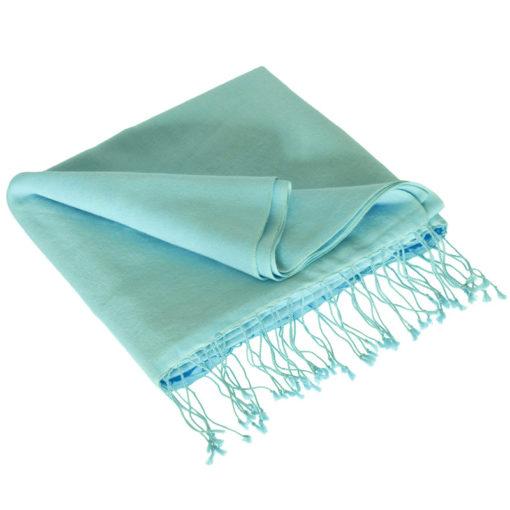 Classic 70% Cashmere / 30% Silk Pashmina - Blue Glow mp100 - 70x200cm - With Tassels