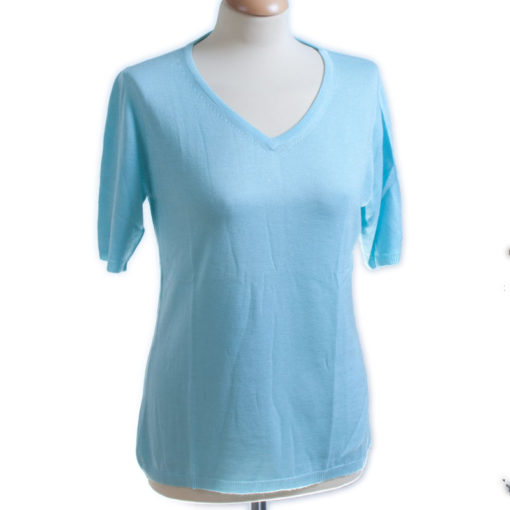 Ladies V-Neck T-Shirt - XL - 80%Bamboo/20%Cashmere - Blue Glow mp100