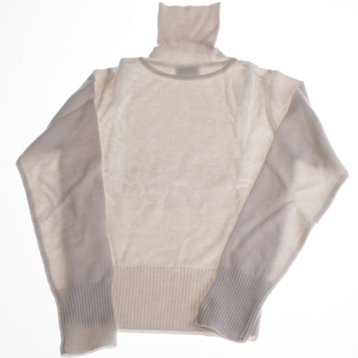 Childrens Polo Neck - 100% Cashmere - Natural White - 10 Years