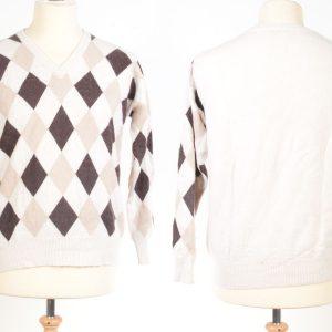 Mens Argyll V-Neck - Medium - Natural White/Beige/Brown