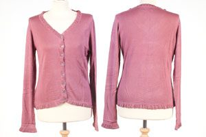 Frilled Edge Cardigan - Medium - Dry Rose