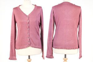 Frilled Edge Cardigan - Small - Dry Rose