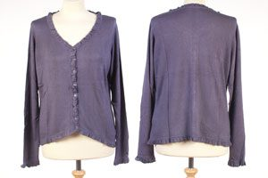 Frilled Edge Cardigan - Medium - Nightshade