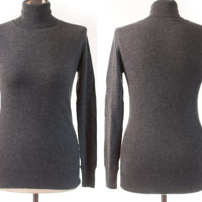 Ladies Polo Neck - S/M - Melange Dark Grey