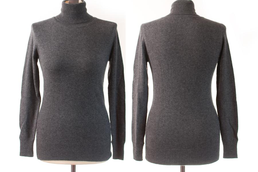Ladies Polo Neck - S/M - Melange Dark Grey