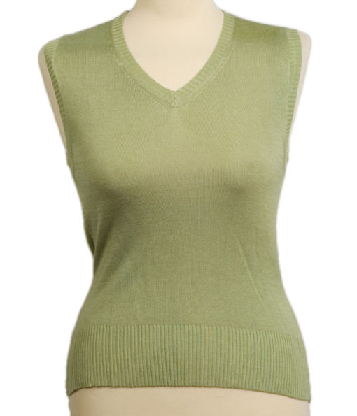 Ladies Slipover - Moss Stone - Small - 80% Bamboo / 20% Cashmere
