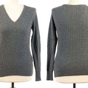 Ladies Cabled V-Neck - Small - Melange Dark Grey
