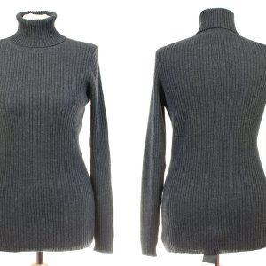 Ladies Skinny Rib Polo Neck - S/M - Melange Dark Grey