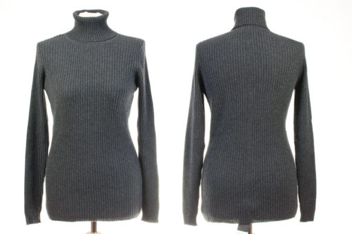 Ladies Skinny Rib Polo Neck - S/M - Melange Dark Grey