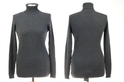 Ladies Skinny Rib Polo Neck - M/L - Melange Dark Grey