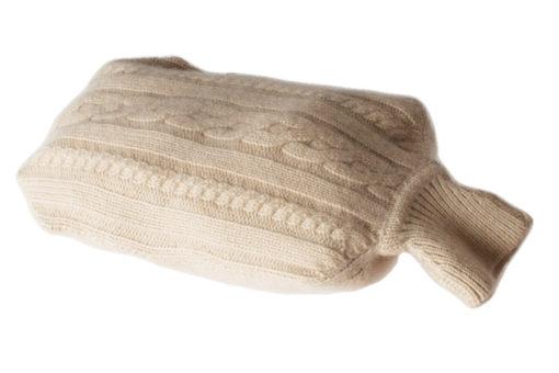Mini Hot Water Bottle Cover - Cabled - 100% Cashmere - Cobblestone