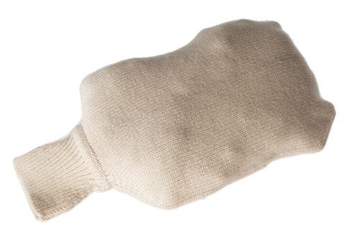 Mini Hot Water Bottle Cover - Plain Knit - 100% Cashmere - Cobblestone