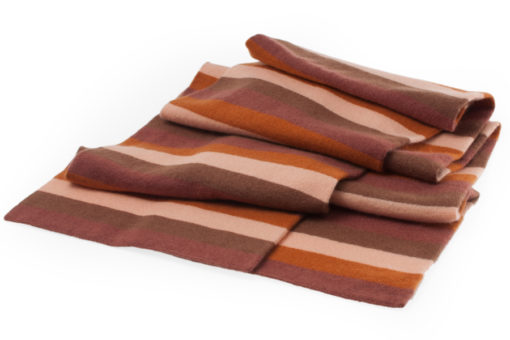 Knitted Double Layer Stripey Scarf - 100% Cashmere - 25x170cm - Rusts