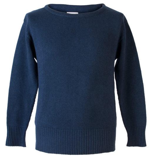 """Mens 8gg Round Neck - 1940s Style - 50% Cashmere/50% Wool - Dark Navy - 50"""" Chest"""