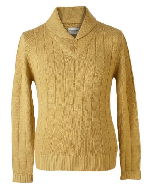 """Shawl Collar - 50% Cashmere/50% Silk - 46"""" - Olivenite"""