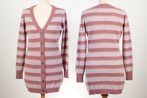 Ladies Long Line Cardigan - Small - Pinks/Taupe