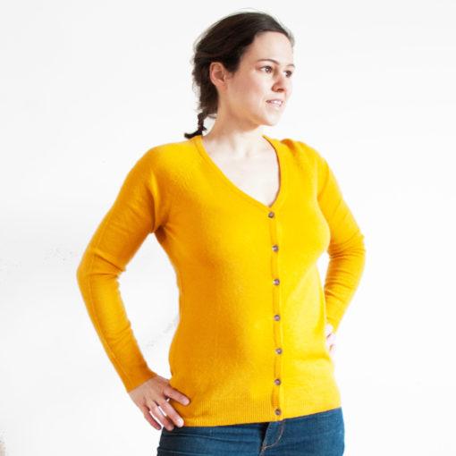 Ladies V-Neck Cardigan - Size 42 - 100% Cashmere - Saffron