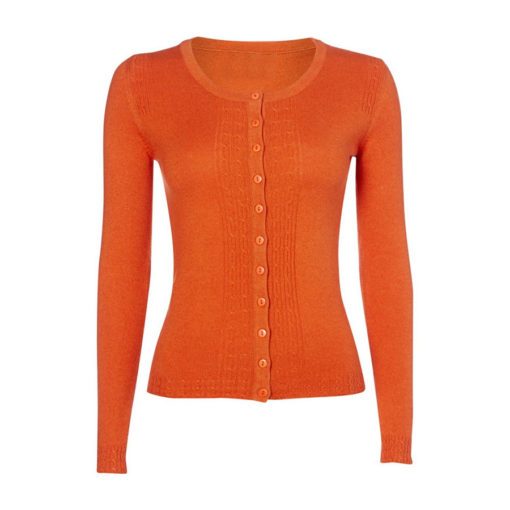 Ladies Cable Front Cardigan - Harvest Pumpkin - Size 40 - 100% Cashmere