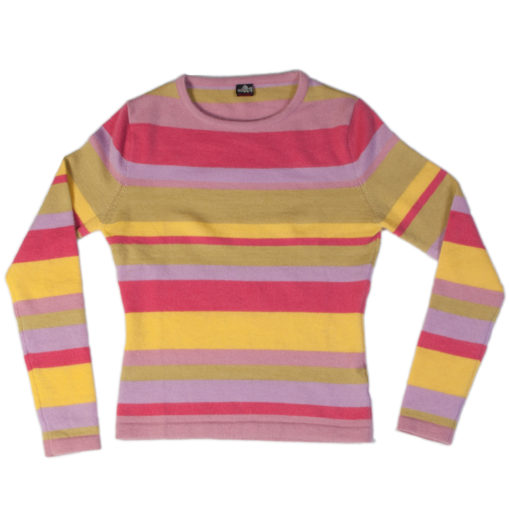 "Ladies Stripy Round Neck - 32"" XS - 100% Cashmere"