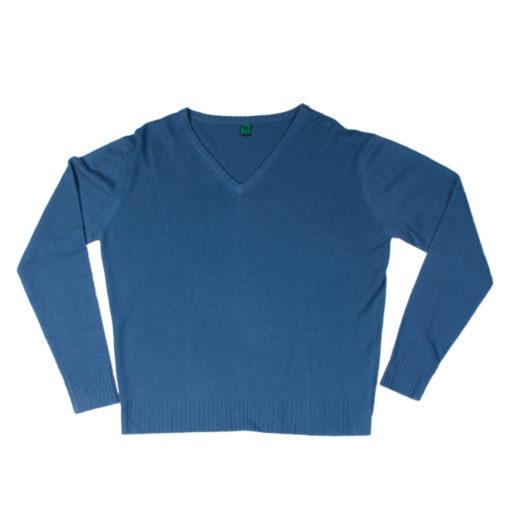 "Mens V-Neck - 100% Cashmere - Nightshadow Blue - XL - 47"""