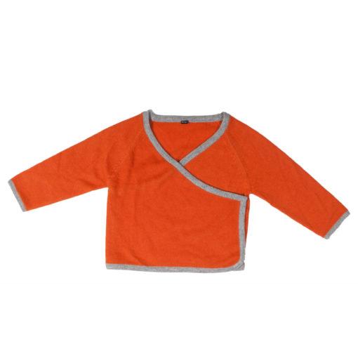 Baby Wrap Cardigan - 100% Cashmere - 86/92cm - 1-2years - Orange Grey