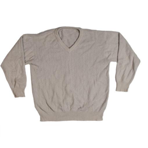 Mens 4 Ply V-Neck - Medium - Light Grey - 100% Cashmere - Used