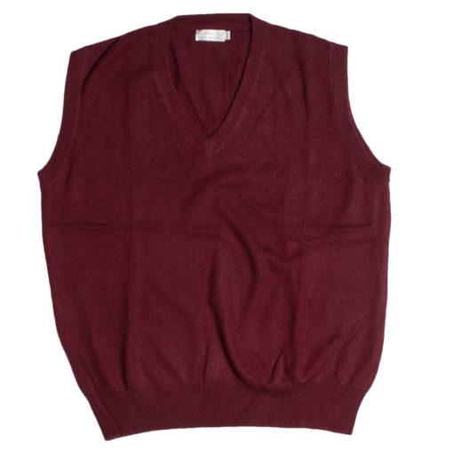 Mens Sleeveless V-Neck - Small - Burgundy - 100% Cashmere