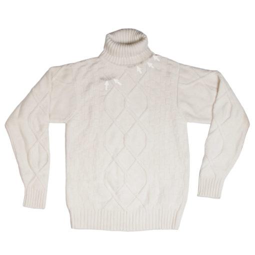 Mens 10plypolo Neck - Natural White - 100% Cashmere