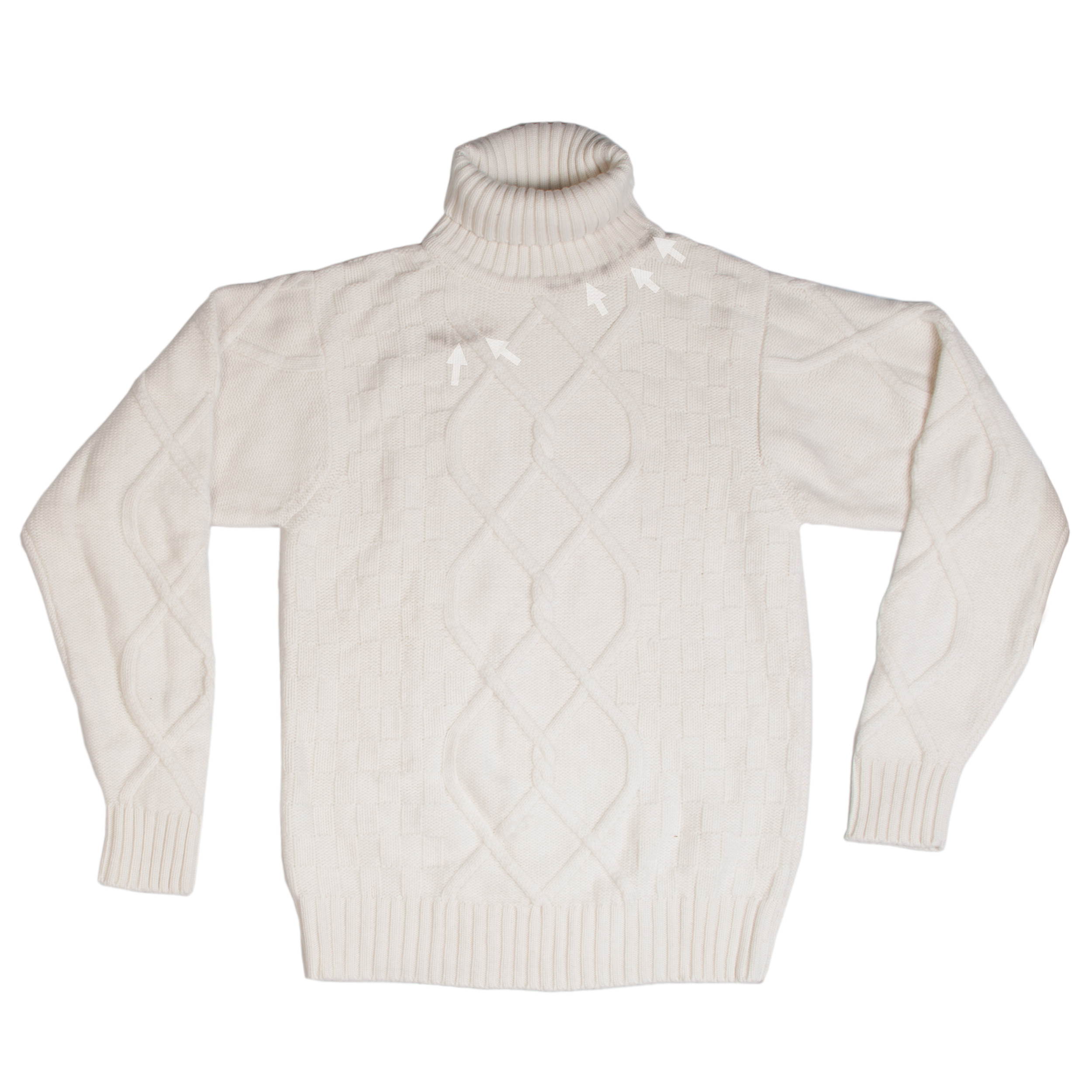 Mens 10plypolo Neck - Natural White - 100% Cashmere