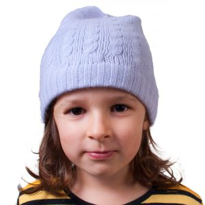 Cable Knit Hat - 4ply 100% Cashmere - Cosmic Sky - Kids