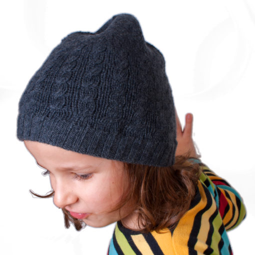 Cable Knit Hat - 4ply 100% Cashmere - Melange Light Grey - Kids