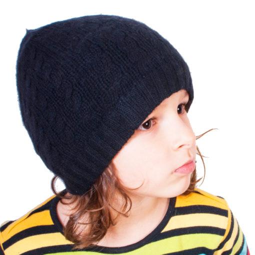 Cable Knit Hat - 4ply 100% Cashmere - Black - Kids