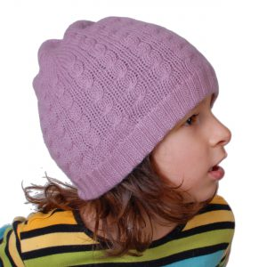 Cable Knit Hat - 4ply 100% Cashmere - Wood Rose - Kids