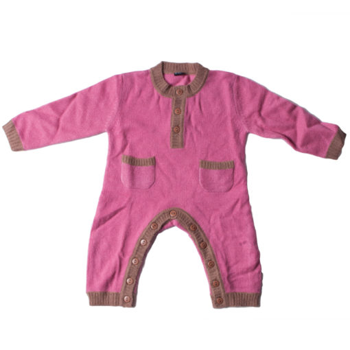 Baby Jump Suit - Pink/Brown - 68/74cm - 6-12months - 100% Cashmere