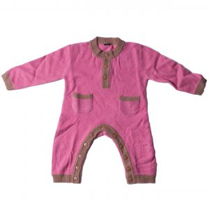 Baby Jump Suit - Pink/Brown - 62/68cm - 1-6months - 100% Cashmere