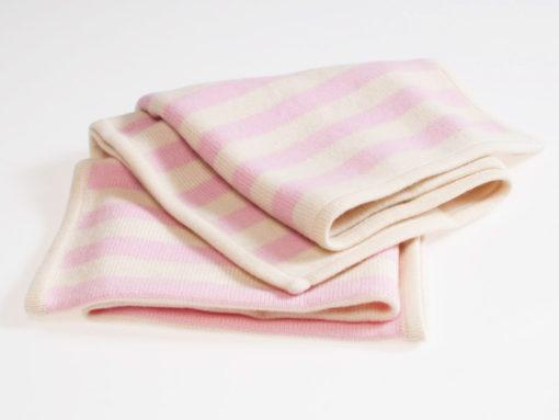 Baby Blanket - 100% Cashmere - Pink White Stripe - 70x90cm - 176g